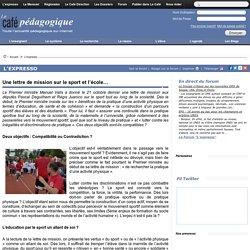 Une lettre de mission sur le sport et l'école…