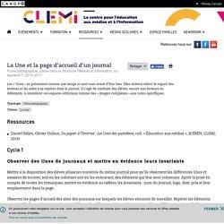 La Une et la page d'accueil d'un journal- CLEMI