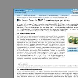 Une prime pour l'emploi de 1000€ maximum