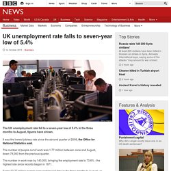 UK unemployment rate falls to seven-year low of 5.4% - BBC News