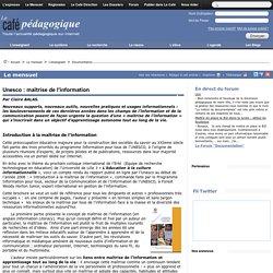 Unesco : maîtrise de l'information