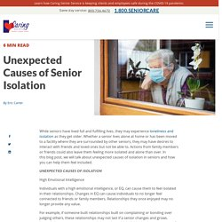 Unexpected Causes of Senior Isolation
