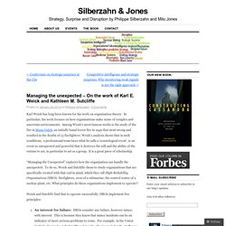 Managing the unexpected – On the work of Karl E. Weick and Kathleen M. Sutcliffe « Silberzahn & Jones