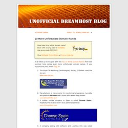 """ 20 More Unfortunate Domain Names "" Unofficial DreamH"