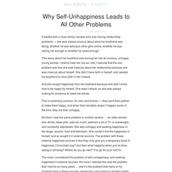 Why Self-Unhappiness Leads to All Other Problems