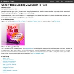 Unholy Rails: Adding JavaScript to Rails