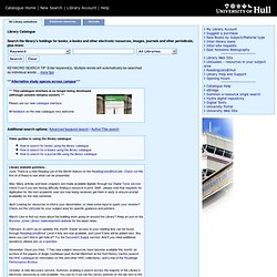 Uni Hull Library Catalogue