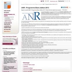 ANR - Programme Blanc édition 2013