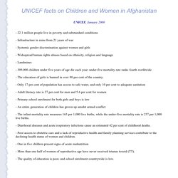 UNICEF: Facts on Children and Women in Afghanistan