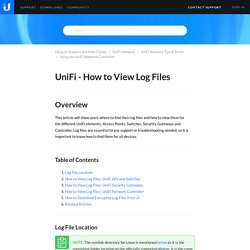 UniFi - How to View Log Files – Ubiquiti Support and Help Center