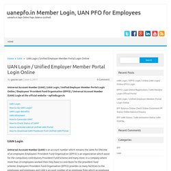 UAN Login / Unified Employer Member Portal Login Online