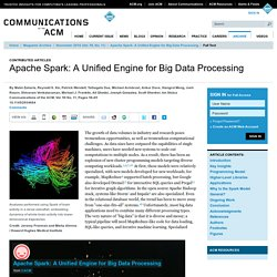 Apache Spark: A Unified Engine for Big Data Processing