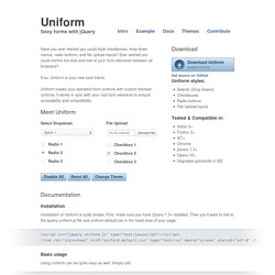 Uniform - Sexy forms with jQuery