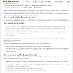 Install or Uninstall McAfee Endpoint Security in few simple steps -