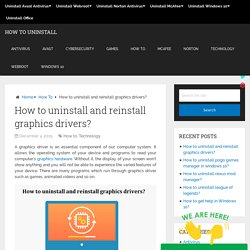 How to uninstall and reinstall graphics drivers in Windows 10?