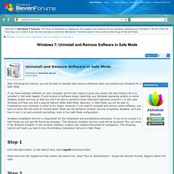 Uninstall and Remove Software in Safe Mode