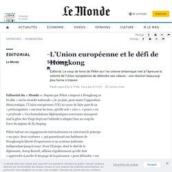 L'Union européenne et le défi de Hongkong