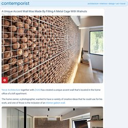 A Unique Accent Wall Was Made By Filling A Metal Cage With Walnuts