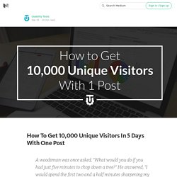 How To Get 10,000 Unique Visitors In 5 Days With One Post
