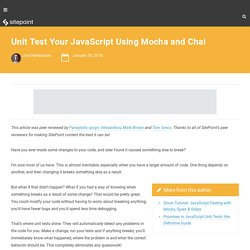 Unit Test Your JavaScript Using Mocha and Chai