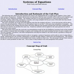 Unit Plan: Systems of Equations