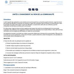 UNITé 6: CHANGEMENT AU SEIN DE LA COMMUNAUTÉ