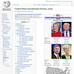 Introduction of United States presidential election, 2016 (Wikipedia)