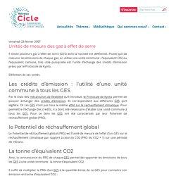 Unités de mesure des gaz à effet de serre – Réseau Cicle