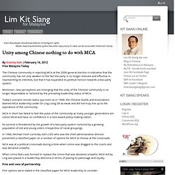 Unity among Chinese nothing to do with MCA