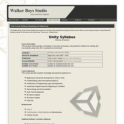 Unity Course Syllabus