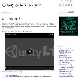 Unity « Rabidgremlin's Soapbox