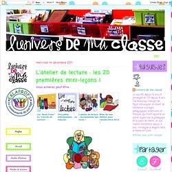 L'atelier de lecture : les 20 premières mini-leçons !