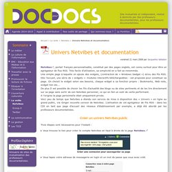 Univers Netvibes et documentation