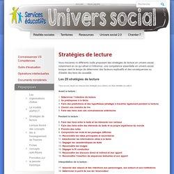 Univers social Secondaire » Stratégies de lecture