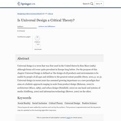 Is Universal Design a Critical Theory?
