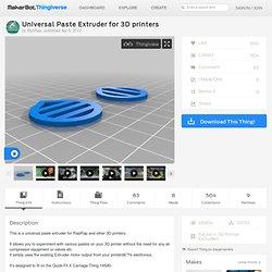 Universal Paste Extruder for 3D printers by RichRap
