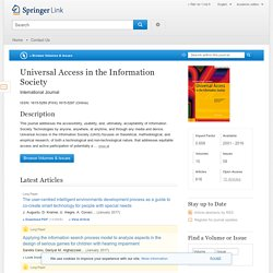Universal Access in the Information Society - Springer