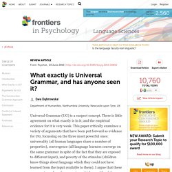 What exactly is Universal Grammar, and has anyone seen it?
