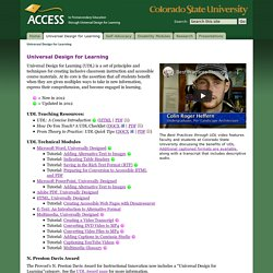 Universal Design for Learning - The ACCESS Project - Colorado State University