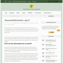 Universal Mind article - part 2 - Parapsychology articles and blog