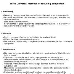 Three Universal methods of reducing complexity