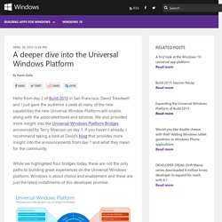 A deeper dive into the Universal Windows Platform