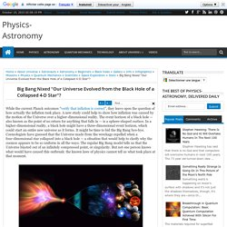 """Big Bang Nixed """"Our Universe Evolved from the Black Hole of a Collapsed 4-D Star""""?"""