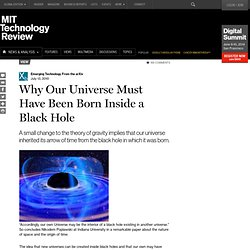 Why Our Universe Must Have Been Born Inside a Black Hole