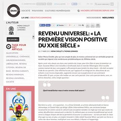 Revenu universel: « la première vision positive du XXIe siècle »