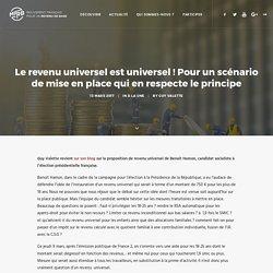Le revenu universel est universel ! Pour un scénario de mise en place qui en respecte le principe – Mouvement Français pour un Revenu de Base