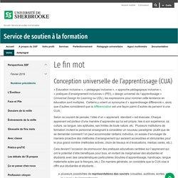 Le fin mot : conception universelle de l'apprentissage (CUA)