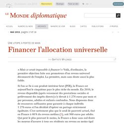 Financer l'allocation universelle, par Baptiste Mylondo (Le Monde diplomatique, mai 2013)