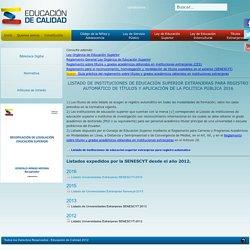 Listado de Universidades Extranjeras SENESCYT