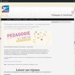 Pédagogie et Numérique » Pédagogie universitaire numérique – accompagnement et formation des enseignants du supérieur